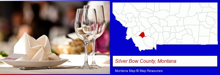 a restaurant table place setting; Silver Bow County, Montana highlighted in red on a map
