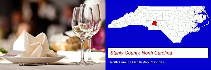 a restaurant table place setting; Stanly County, North Carolina highlighted in red on a map