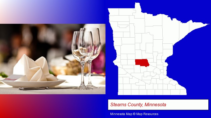 a restaurant table place setting; Stearns County, Minnesota highlighted in red on a map