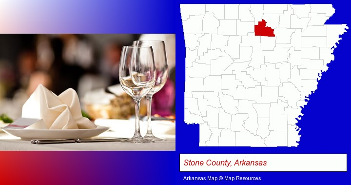 a restaurant table place setting; Stone County, Arkansas highlighted in red on a map