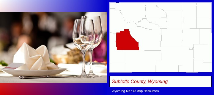 a restaurant table place setting; Sublette County, Wyoming highlighted in red on a map
