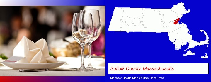 a restaurant table place setting; Suffolk County, Massachusetts highlighted in red on a map