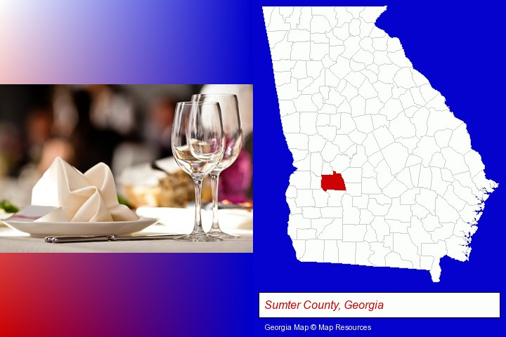 a restaurant table place setting; Sumter County, Georgia highlighted in red on a map