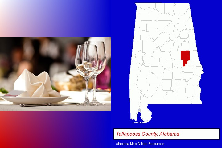 a restaurant table place setting; Tallapoosa County, Alabama highlighted in red on a map