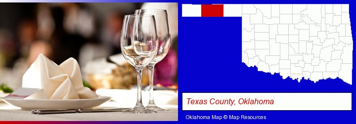 a restaurant table place setting; Texas County, Oklahoma highlighted in red on a map
