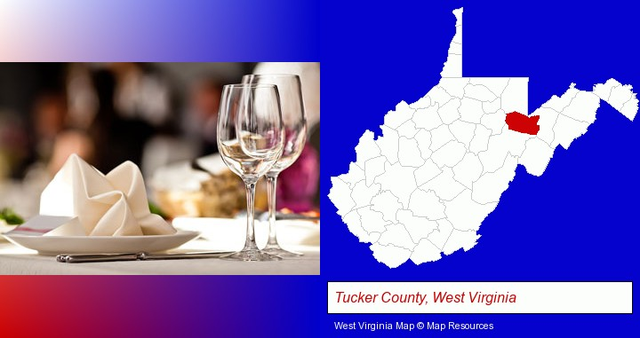 a restaurant table place setting; Tucker County, West Virginia highlighted in red on a map