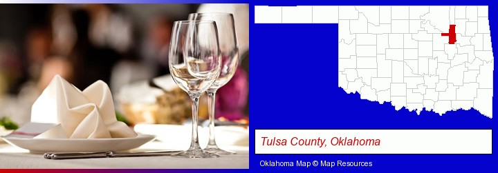 a restaurant table place setting; Tulsa County, Oklahoma highlighted in red on a map