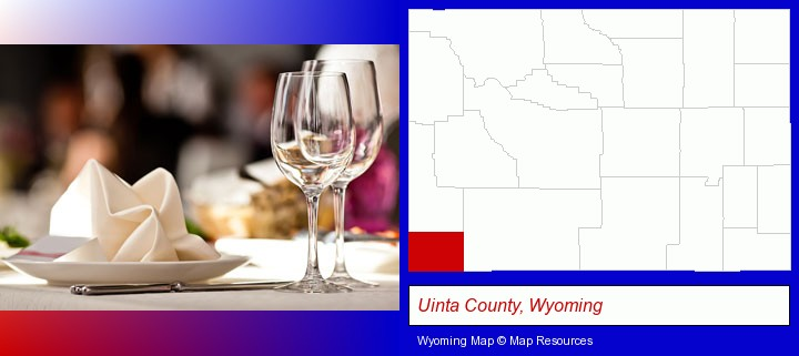 a restaurant table place setting; Uinta County, Wyoming highlighted in red on a map