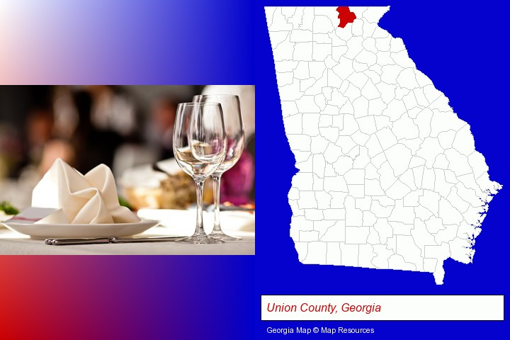 a restaurant table place setting; Union County, Georgia highlighted in red on a map