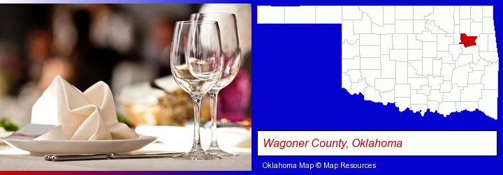 a restaurant table place setting; Wagoner County, Oklahoma highlighted in red on a map
