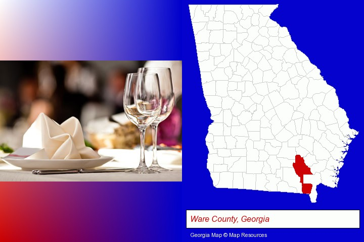 a restaurant table place setting; Ware County, Georgia highlighted in red on a map