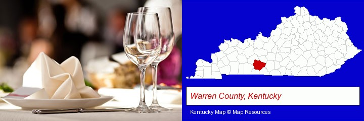 a restaurant table place setting; Warren County, Kentucky highlighted in red on a map