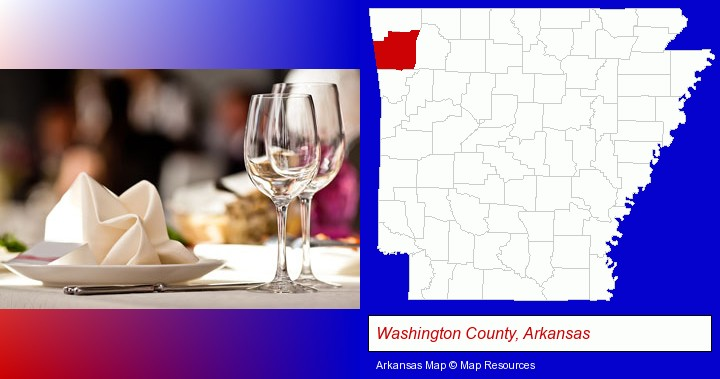 a restaurant table place setting; Washington County, Arkansas highlighted in red on a map