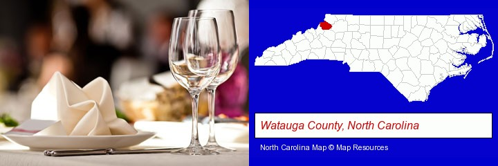 a restaurant table place setting; Watauga County, North Carolina highlighted in red on a map