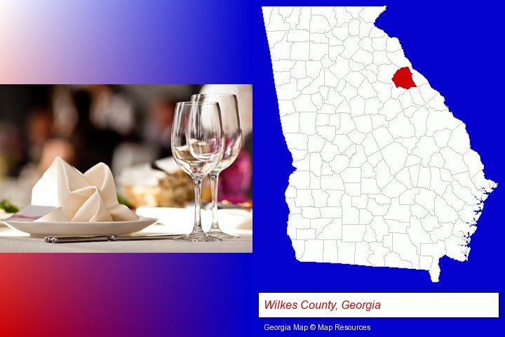 a restaurant table place setting; Wilkes County, Georgia highlighted in red on a map