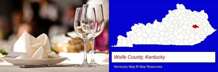 a restaurant table place setting; Wolfe County, Kentucky highlighted in red on a map