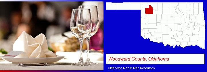 a restaurant table place setting; Woodward County, Oklahoma highlighted in red on a map