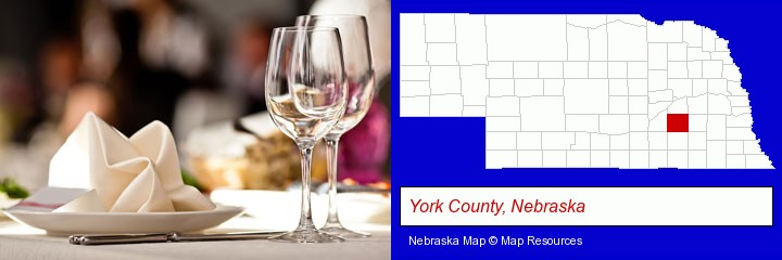 a restaurant table place setting; York County, Nebraska highlighted in red on a map